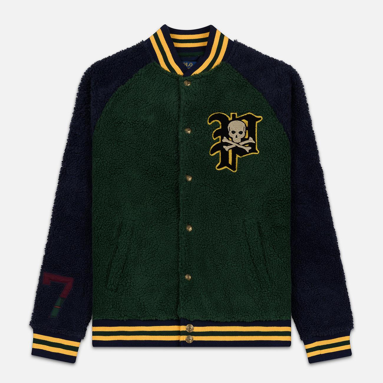 Мужская куртка бомбер Polo Ralph Lauren Fleece Letterman College Green/Cruise Navy