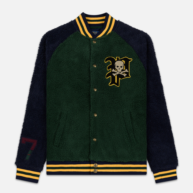 Мужская куртка бомбер Polo Ralph Lauren Fleece Letterman College Green/Cruise Navy