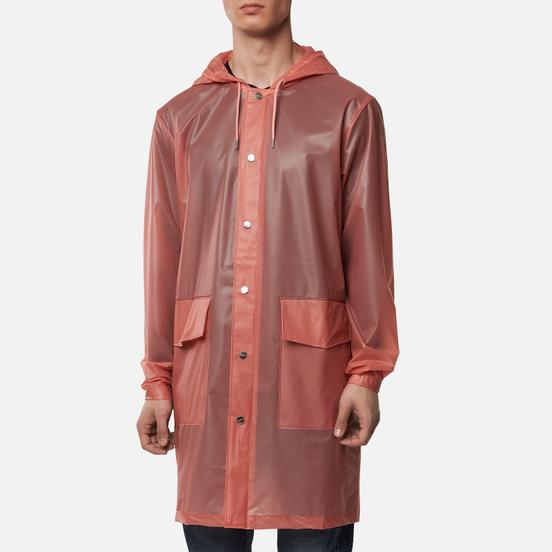 Мужская куртка дождевик Rains Transparent Hooded Foggy Coral