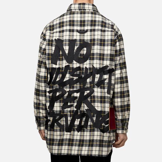 Мужская куртка Evisu Graffiti Oversize Padded Flannel Shirket Ecru