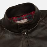 Мужская куртка харрингтон Baracuta G9 Oiled Leather Dark Brown фото- 2