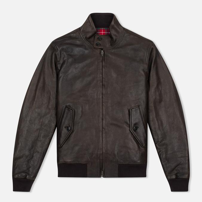 Мужская куртка харрингтон Baracuta G9 Padded Soft Oiled Leather Wood Brown