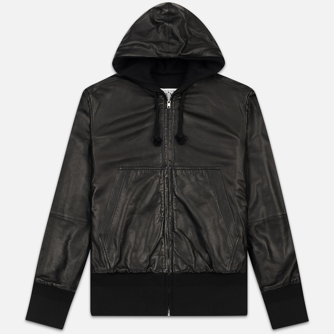 Мужская куртка Maison Margiela Leather Reversible Hoodie Black/Black