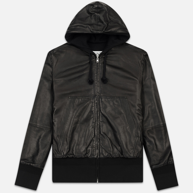 Мужская куртка Maison Margiela Leather Reversible Hoodie Black/Black
