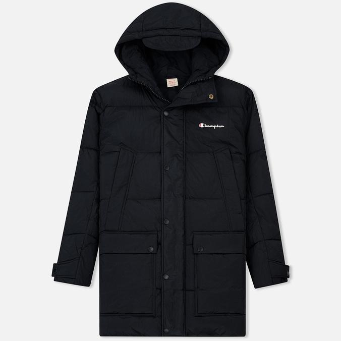Мужская куртка парка Champion Reverse Weave Padded Longline Hooded Popper Black