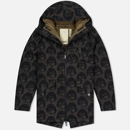 Мужская куртка парка Dupe Storm Hooded 3L Milo Walsh Brown/Old D Print