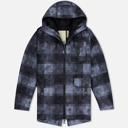Мужская куртка парка Dupe Storm Hooded 3L Trafford Check Black/Black Cross Panel Print