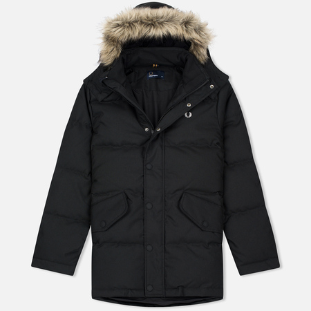 Fred Perry Down Fur Trim Men's Parka Black