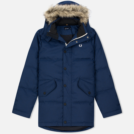 Fred Perry Down Fur Trim Men's Parka Medieval Blue