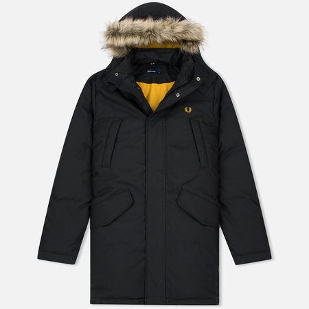 Fred Perry Long Length Winter Men's Parka Black