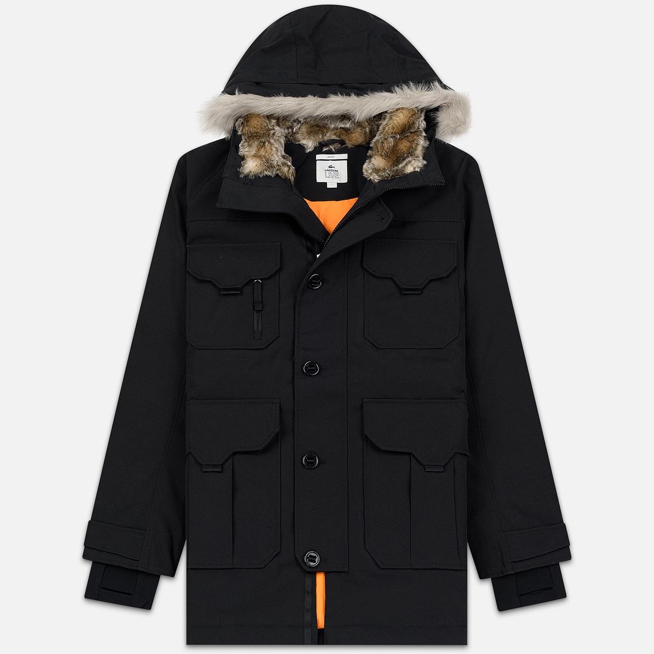 Мужская куртка парка Lacoste Live Faux Fur Hooded Black/Black