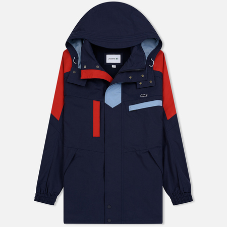 Мужская куртка парка Lacoste Water-Resistant Parka Detachable Hood Navy Blue/Red/Light Blue