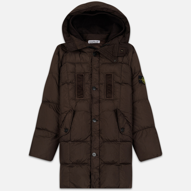 Мужская куртка парка Stone Island Crinkle Reps Nylon Down Dark Brown