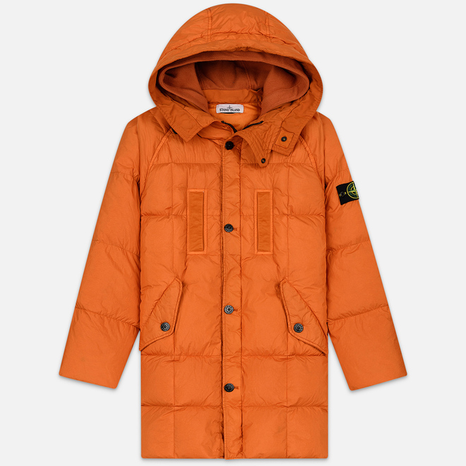 Мужская куртка парка Stone Island Crinkle Reps Nylon Down Orange