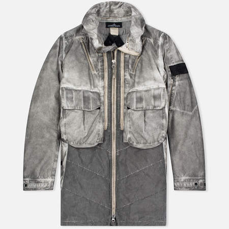 Stone Island Shadow Project Double Men's Parka Front Raso-R/Nylon Metal Grey