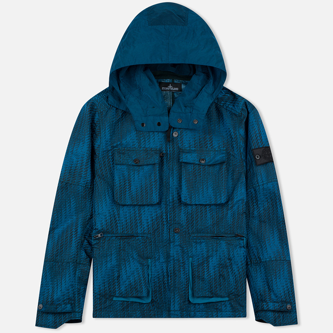 Мужская куртка ветровка Stone Island Shadow Project Jacquard Viscosa Nylon Turquoise Blue