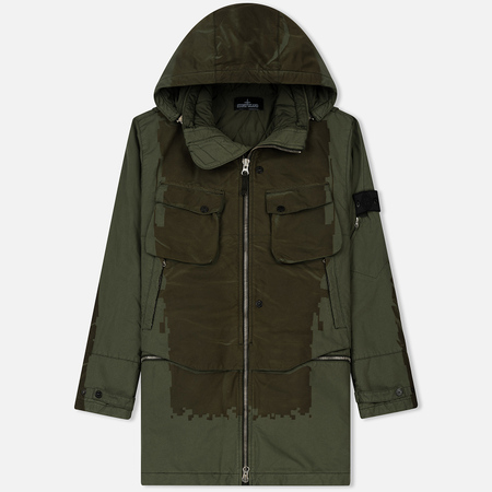 Мужская куртка парка Stone Island Shadow Project Laser Engraved David-TC Khaki