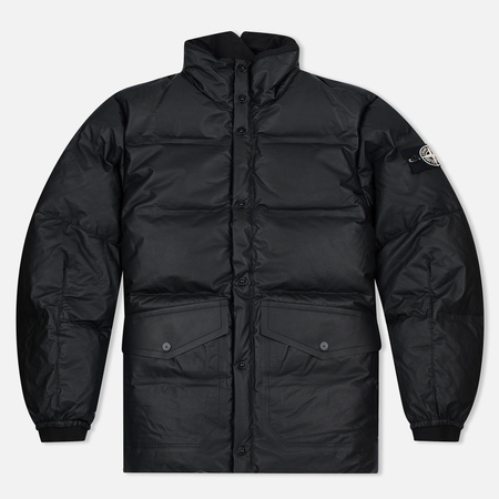 Мужская куртка Stone Island Featherweight Leather Down Black