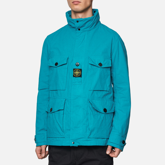 Мужская куртка Stone Island Multipocket Cotton-Nylon Turchese