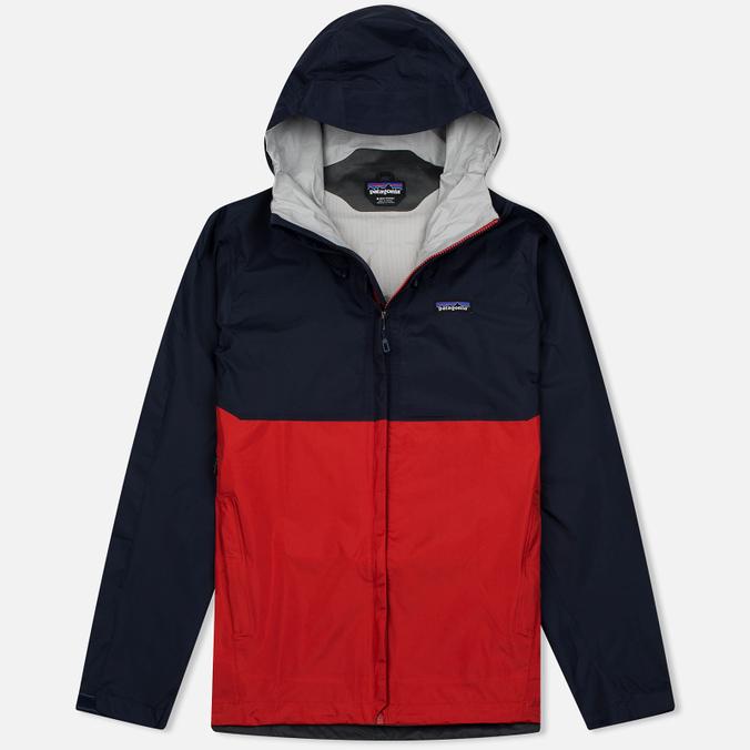 Мужская куртка ветровка Patagonia Torrentshell Navy Blue/Ramble Red