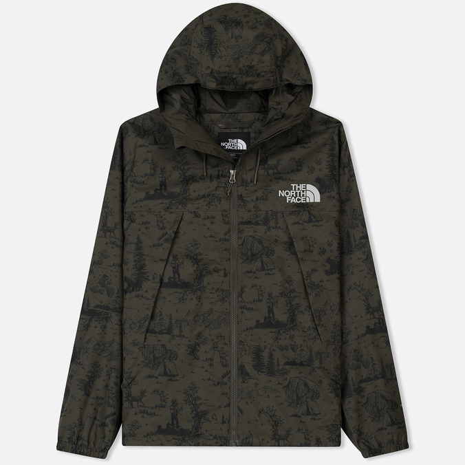 Мужская куртка ветровка The North Face 1990 Mountain Quest Black Ink Green Toile De Jouy Print