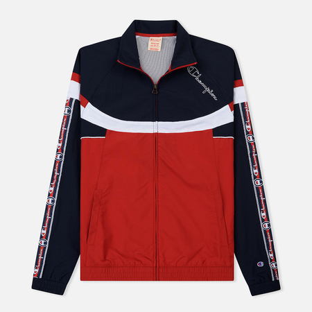 Мужская олимпийка Champion Reverse Weave Jacquard Tape Logo Full Zip Grey/Navy/White