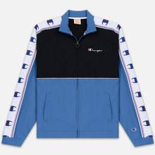 Мужская олимпийка Champion Reverse Weave Peached Feel Crinckle Water Repellent Full Zip Blue/Black/White фото- 0