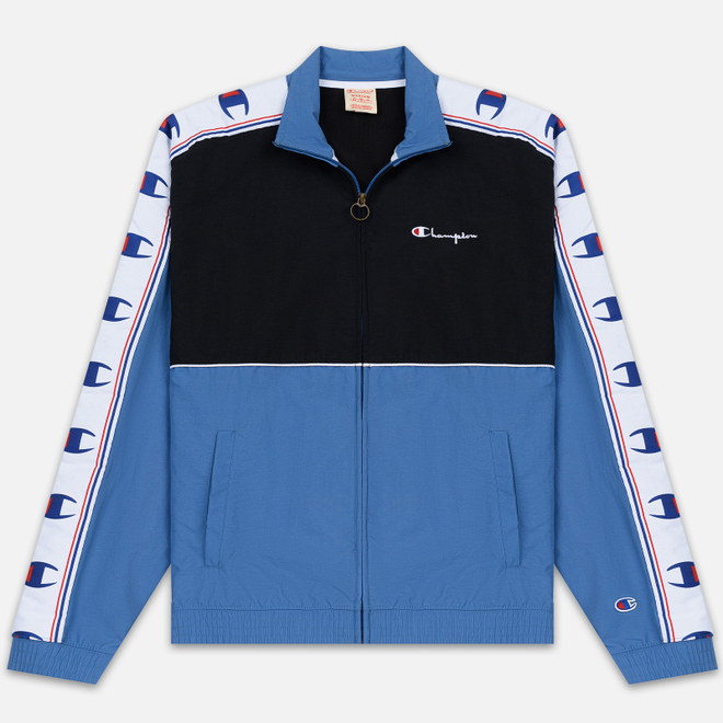 Мужская олимпийка Champion Reverse Weave Peached Feel Crinckle Water Repellent Full Zip Blue/Black/White