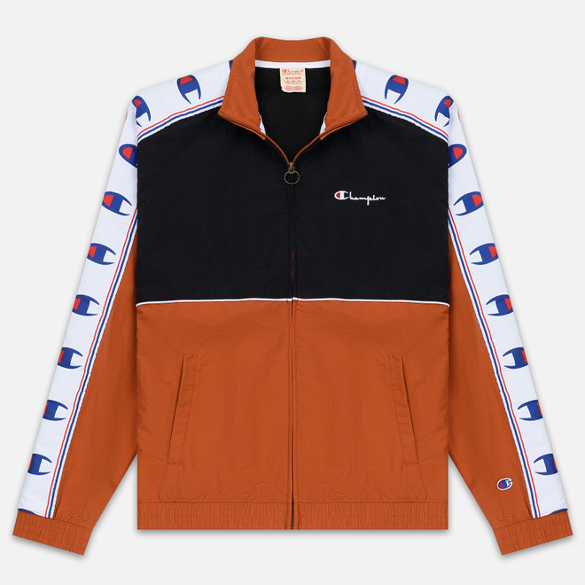 Мужская олимпийка Champion Reverse Weave Peached Feel Crinckle Water Repellent Full Zip Brown/Black/White