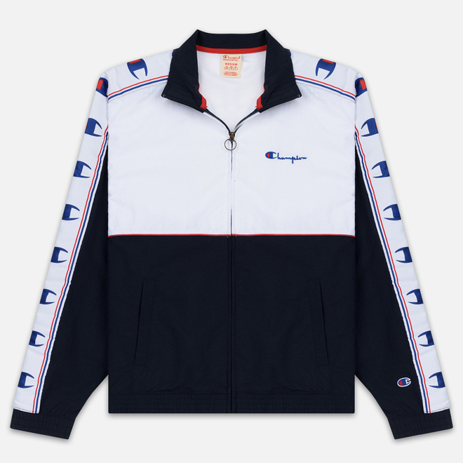 Мужская олимпийка Champion Reverse Weave Peached Feel Crinckle Water Repellent Full Zip Navy/White/Red