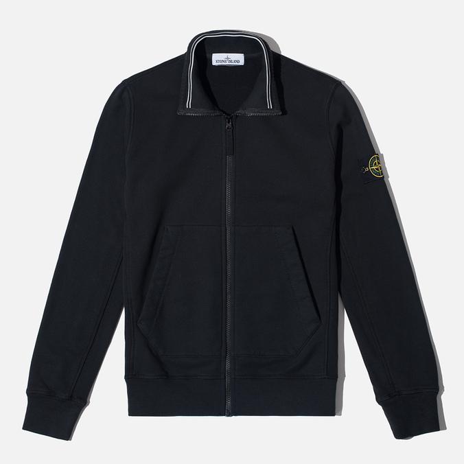 Stone Island Brushed Cotton Fleece Men's Track Jacket Black