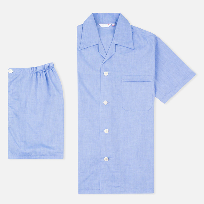Мужская пижама Derek Rose Amalfi Cotton Batiste Blue