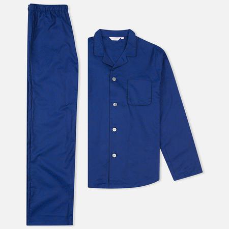 Derek Rose Paris 7 Cotton Jacquard Men's Pyajamas Cobalt