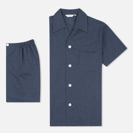Derek Rose Plaza 21 Cotton Batiste Polka Dot Men's Pyajamas Navy