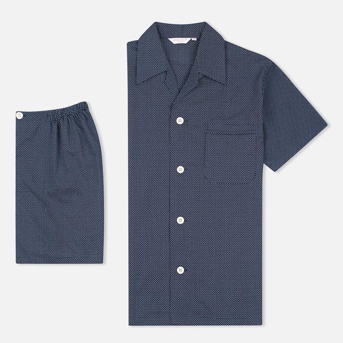 Мужская пижама Derek Rose Plaza 21 Cotton Batiste Polka Dot Navy