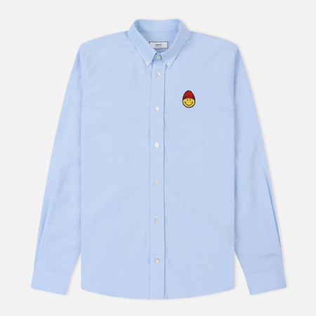 Мужская рубашка AMI Patch Smiley Oxford Sky Blue