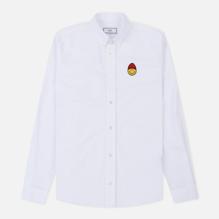 Мужская рубашка AMI Patch Smiley Oxford White
