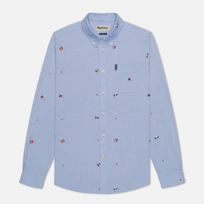 Мужская рубашка Barbour Jacquard Tailored Fit Sky Blue