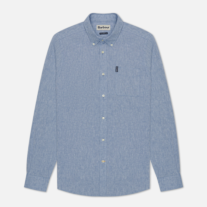 Мужская рубашка Barbour Linen Mix Tailored Fit Blue