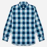 Мужская рубашка Blue Blue Japan Button Down Traditional Check Indigo фото- 0