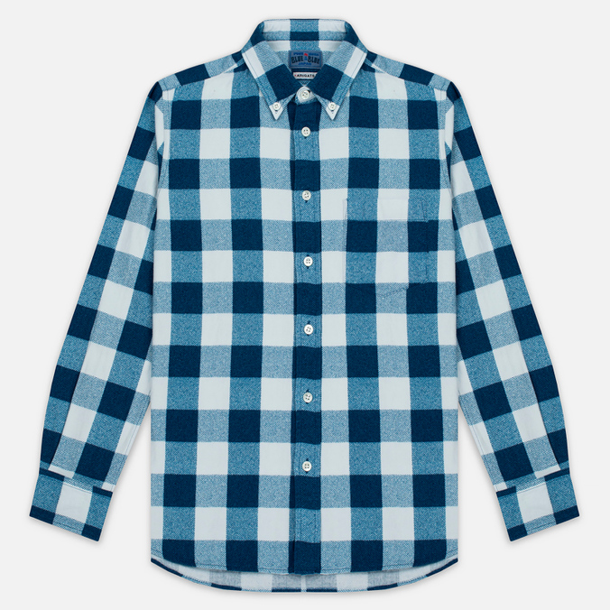 Мужская рубашка Blue Blue Japan Button Down Traditional Check Indigo