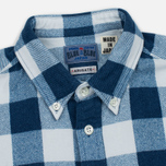 Мужская рубашка Blue Blue Japan Button Down Traditional Check Indigo фото- 1