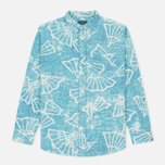 Мужская рубашка Blue Blue Japan J5467 Folding Fun Printed Turquoise фото- 0
