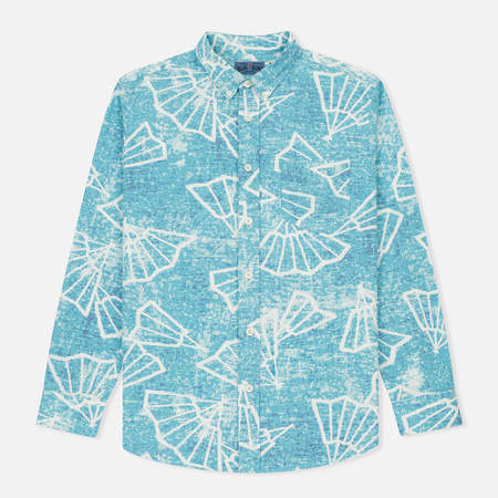 Мужская рубашка Blue Blue Japan J5467 Folding Fun Printed Turquoise