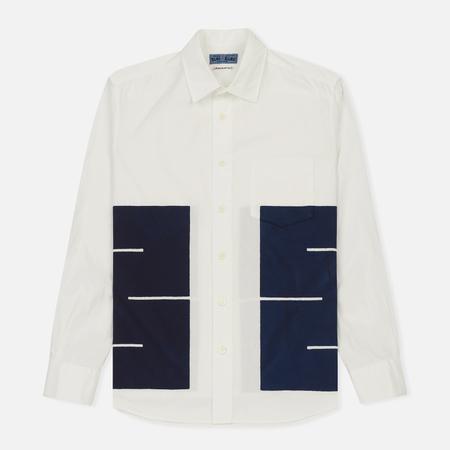 Мужская рубашка Blue Blue Japan J5472 Broad Chaimed Boxes Printed White