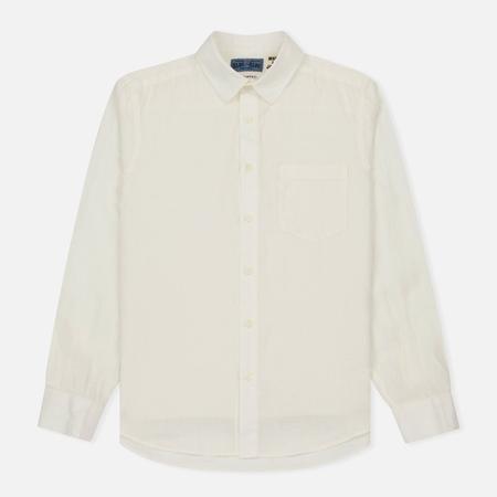 Мужская рубашка Blue Blue Japan J5574 Linen Regular Fit White