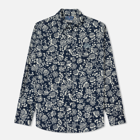 Мужская рубашка Blue Blue Japan J5649 Cotton Twill Blue Rose Printed White/Indigo