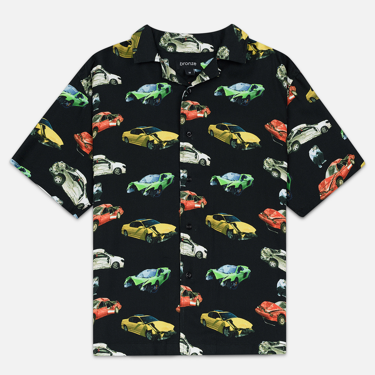 Мужская рубашка Bronze 56K Wrecked Cars Button Up Black