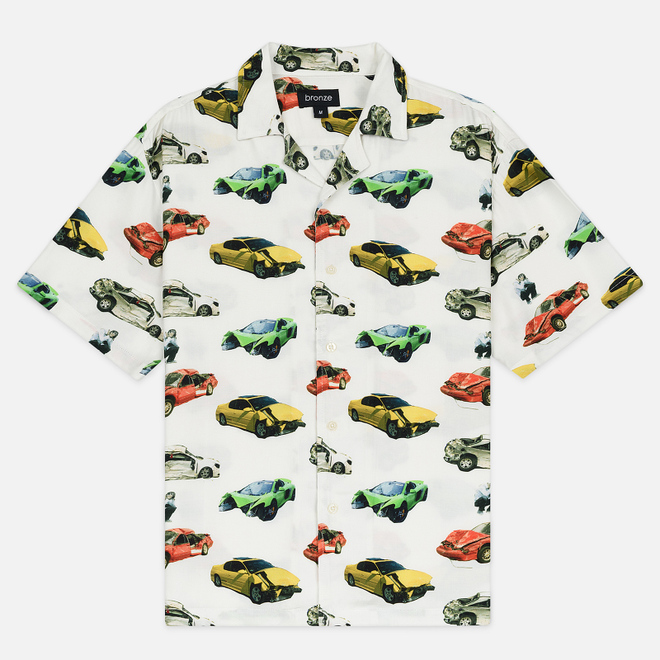 Мужская рубашка Bronze 56K Wrecked Cars Button Up Oyster White