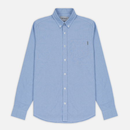 Мужская рубашка Carhartt WIP Button Down Pocket Cotton Oxford 4.7 Oz Bleach